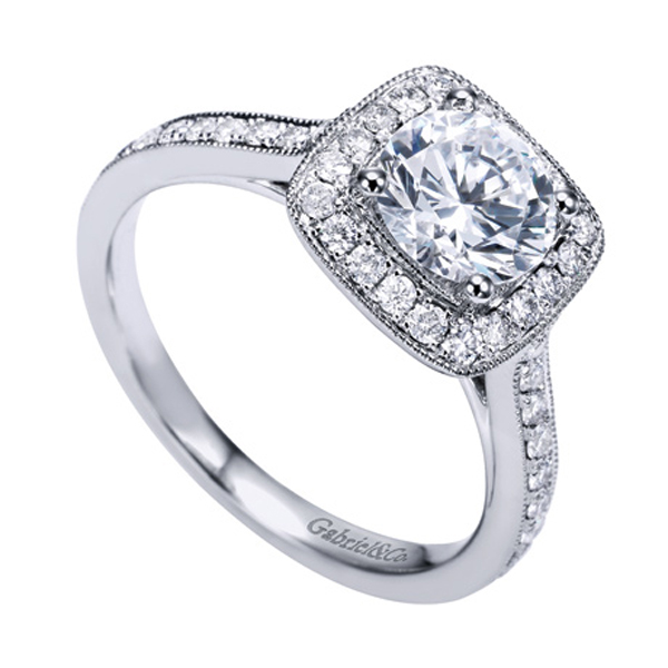 Gabriel & Co White Gold Victorian Halo Engagement Ring W ER7525D4
