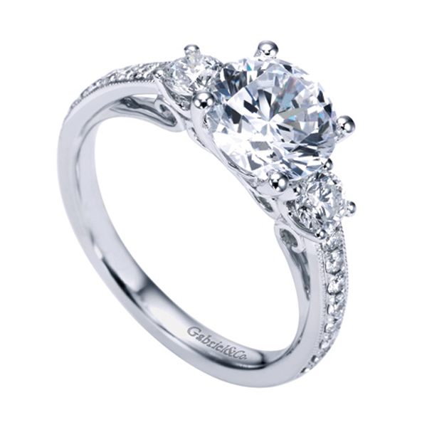 Gabriel & Co White Gold Victorian Three Stone Engagement Ring W ER7283D4