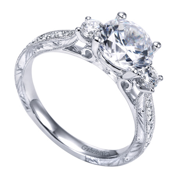 Gabriel Co White Gold Victorian Three Stone Engagement Ring W